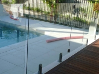 pool fencing mixture of frameless and framed